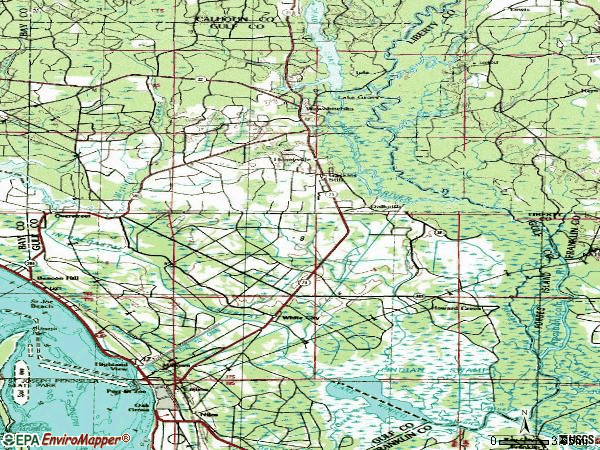 Zip code 32465 topographic map