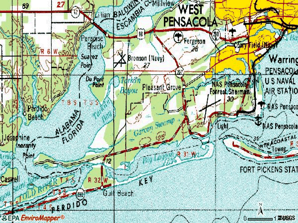 Zip code 32507 topographic map