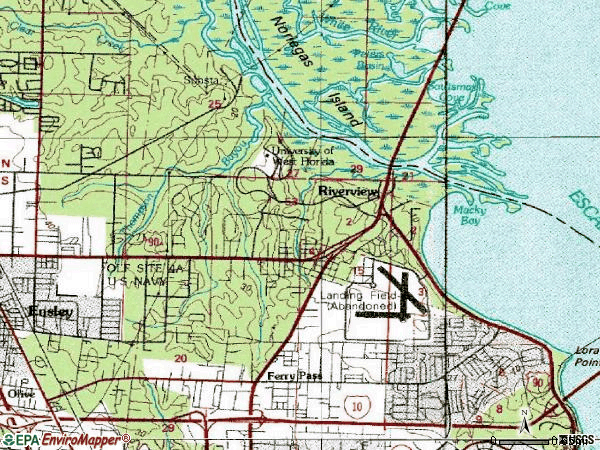 Zip code 32514 topographic map