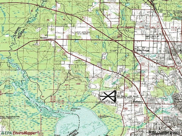 Zip code 32526 topographic map