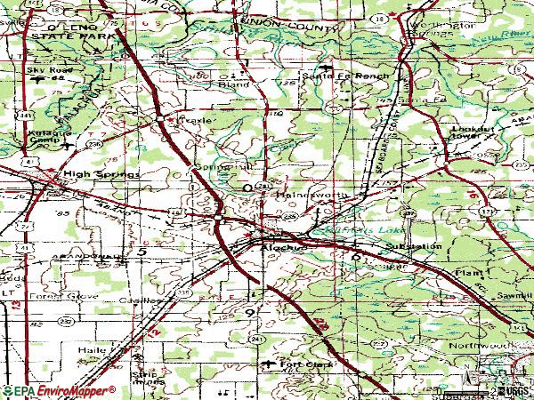 Zip code 32615 topographic map