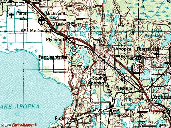 Zip code 32703 topographic map
