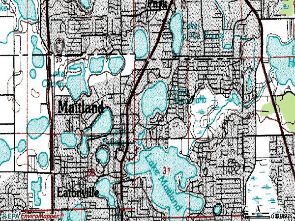 Zip code 32751 topographic map