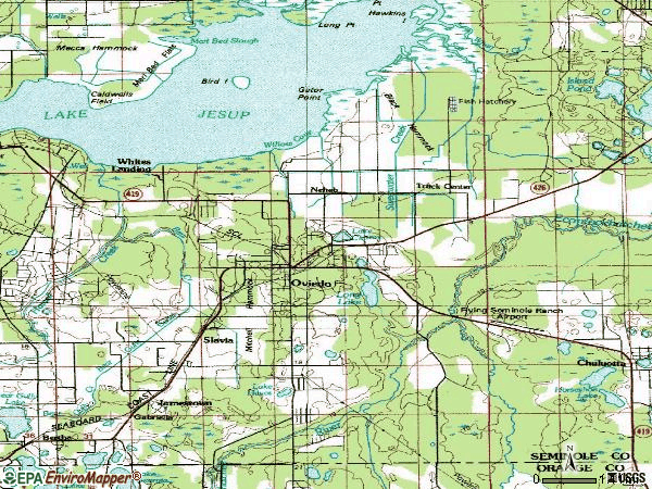 Zip code 32765 topographic map