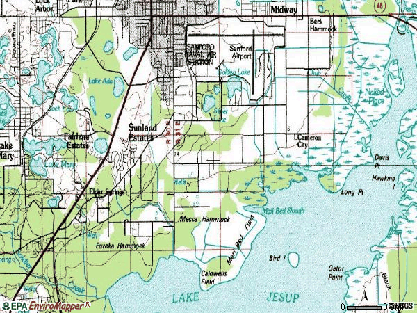 Zip code 32773 topographic map