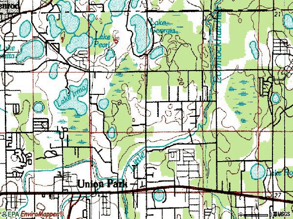 Zip code 32817 topographic map