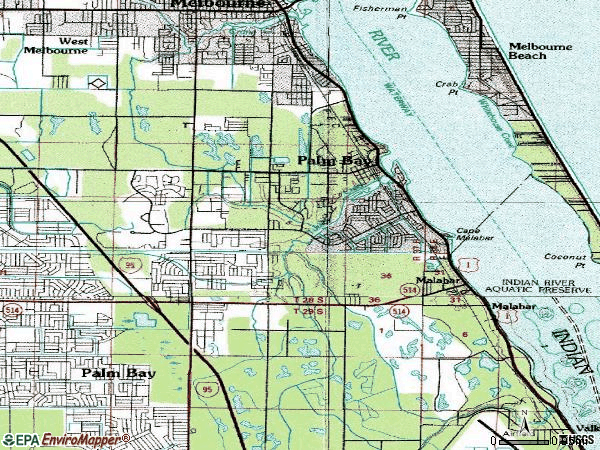 Zip code 32905 topographic map