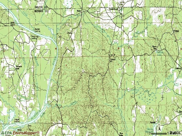 Zip code 36481 topographic map