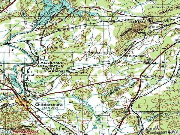Zip code 35014 topographic map