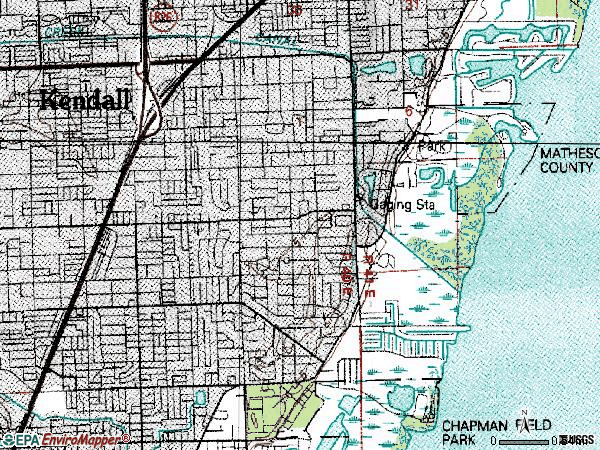Zip code 33156 topographic map
