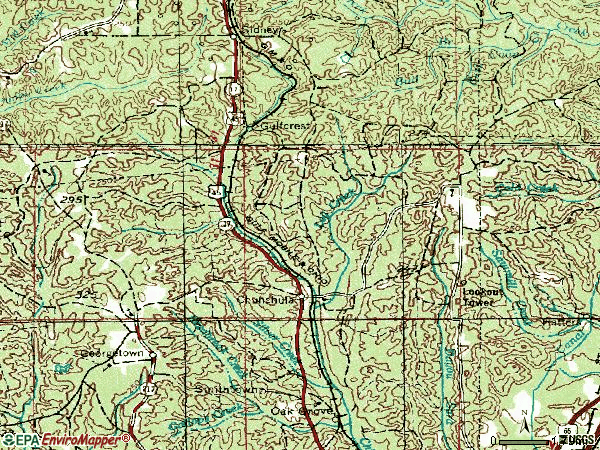 Zip code 36521 topographic map