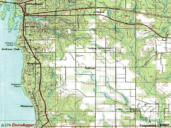 Zip code 36526 topographic map