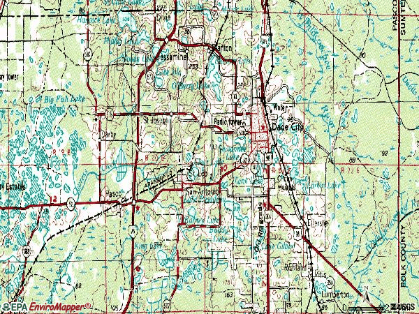 Zip code 33525 topographic map