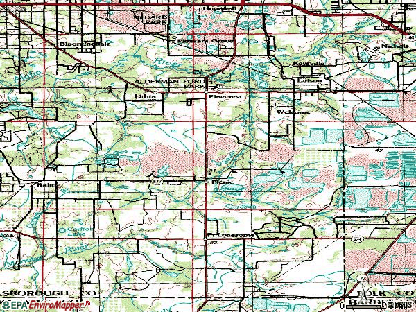 Zip code 33547 topographic map