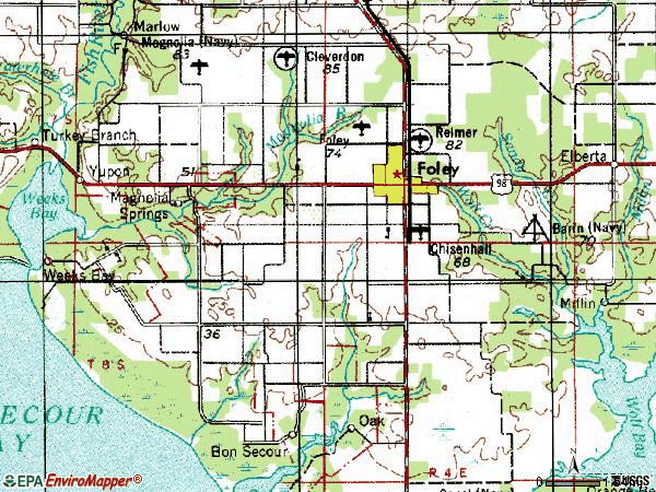 Zip code 36535 topographic map