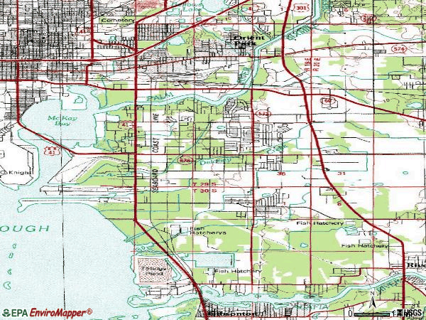 Zip code 33619 topographic map