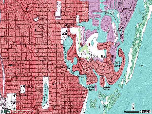 Zip code 33704 topographic map