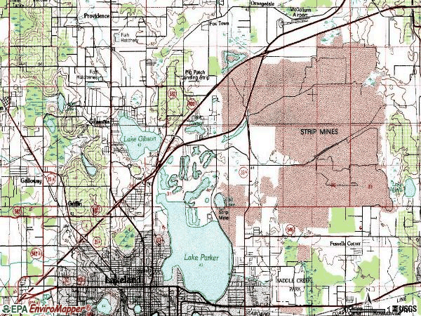 Zip code 33805 topographic map