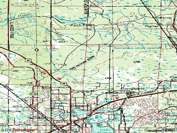 Zip code 33809 topographic map