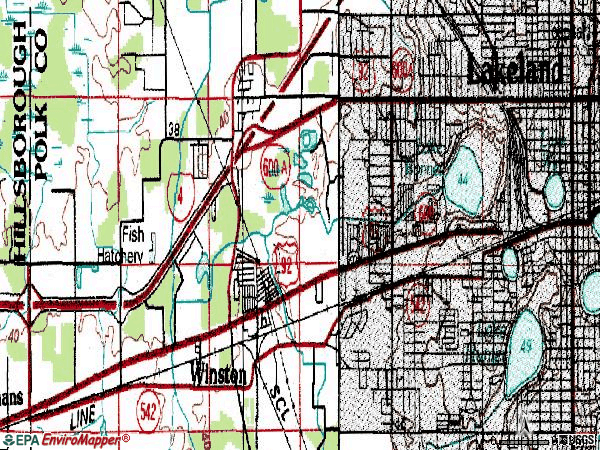 Zip code 33815 topographic map
