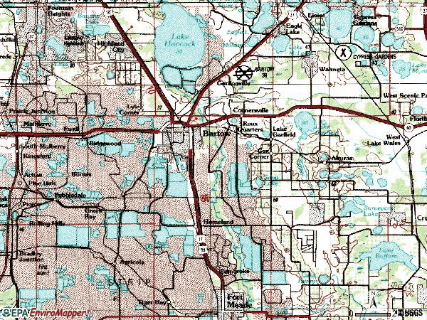 Zip code 33830 topographic map