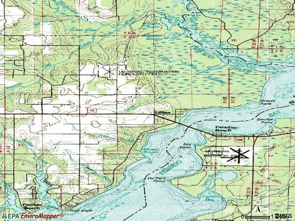 Zip code 36549 topographic map