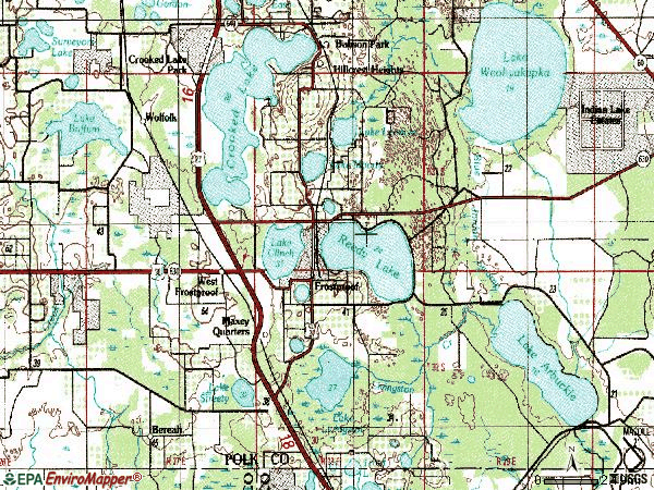 Zip code 33843 topographic map