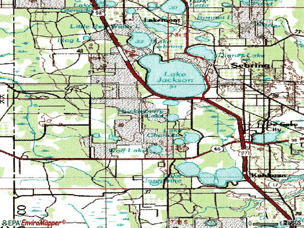 Zip code 33872 topographic map