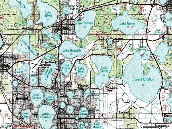 Zip code 33881 topographic map