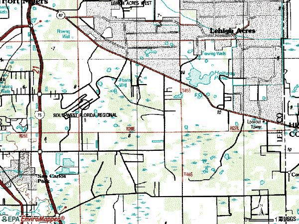 Zip code 33913 topographic map
