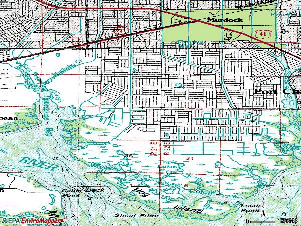 Zip code 33948 topographic map