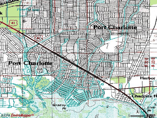 Zip code 33952 topographic map