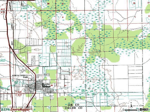 Zip code 34135 topographic map