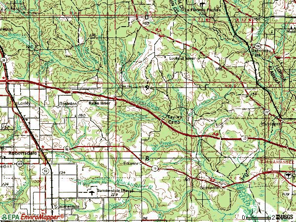 Zip code 36567 topographic map