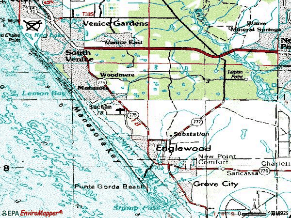 Zip code 34223 topographic map