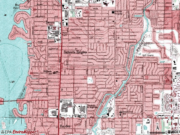 Zip code 34239 topographic map
