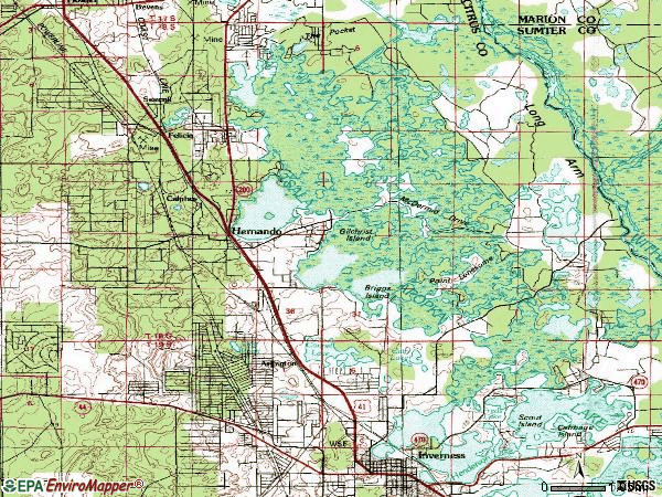 Zip code 34453 topographic map