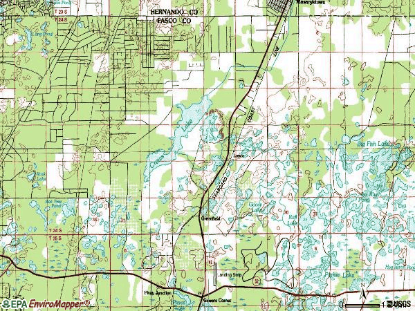 Zip code 34610 topographic map