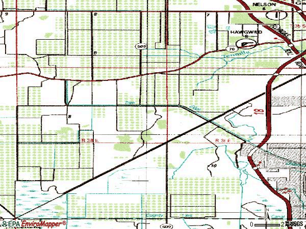Zip code 34987 topographic map