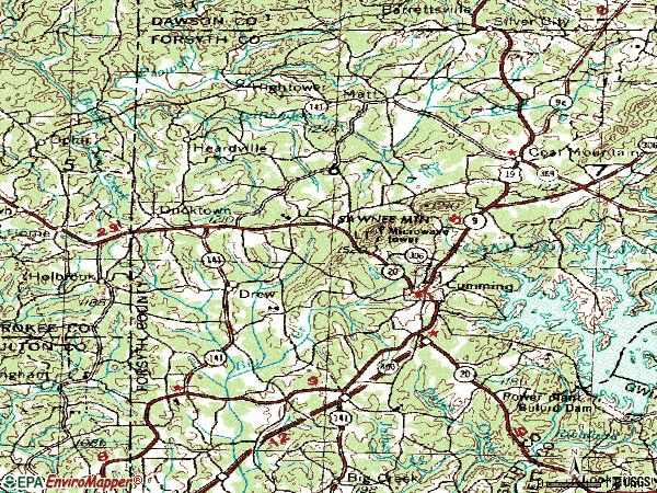 Zip code 30040 topographic map