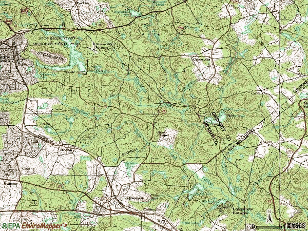 Zip code 30058 topographic map