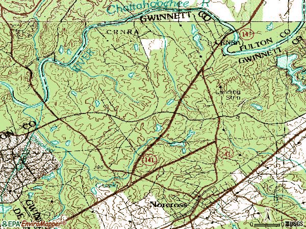 Zip code 30092 topographic map