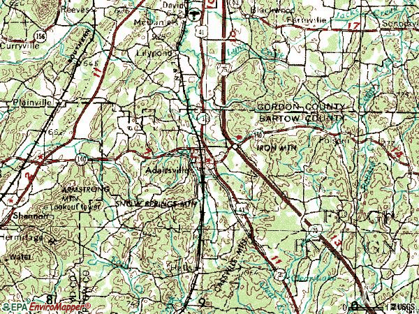 Zip code 30103 topographic map