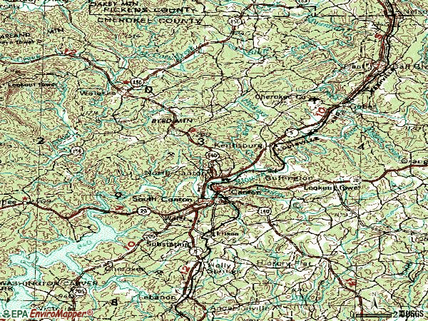 Zip code 30114 topographic map