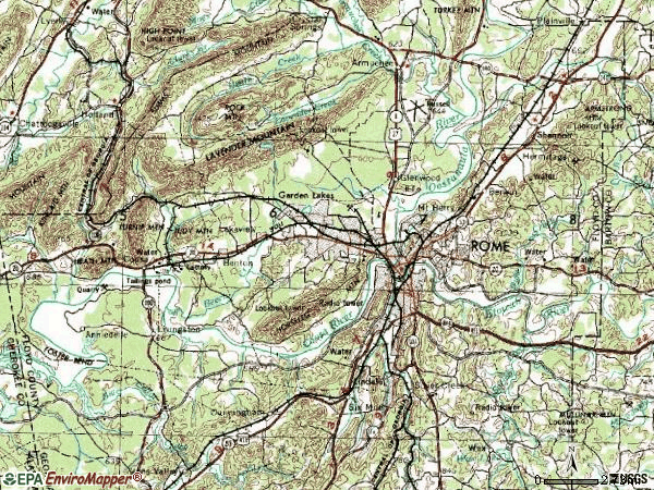 Zip code 30161 topographic map