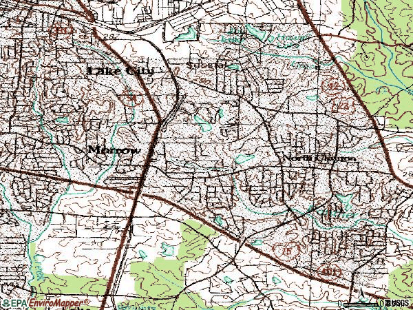 Zip code 30260 topographic map