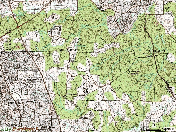 Zip code 30294 topographic map