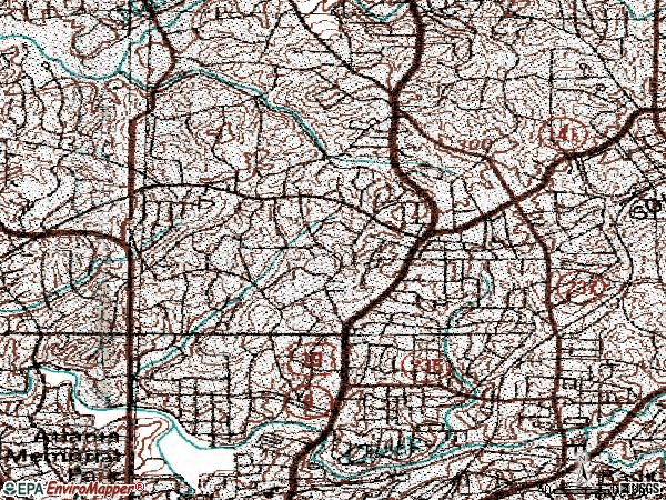Zip code 30305 topographic map
