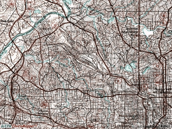 Zip code 30318 topographic map