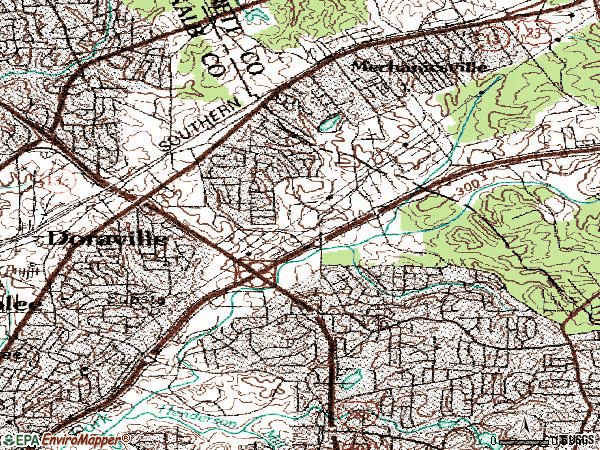 Zip code 30340 topographic map